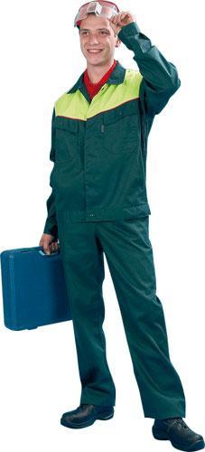 Куртка СТРОИТЕЛЬ , смесовая, зел/желтый, 60-62р