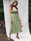 Расклешенное платье-миди без рукавов  в горошек   ЛЕТО, фото 2