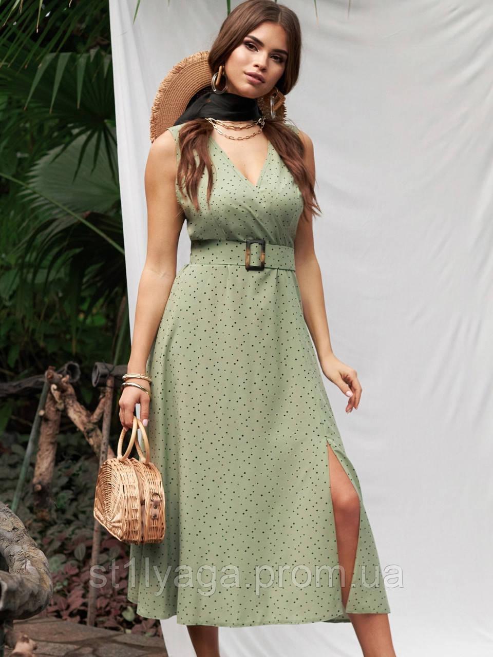 Расклешенное платье-миди без рукавов  в горошек   ЛЕТО
