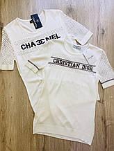 Футболка жіноча 2XL(р) біла 4120 C Dior Туреччина Літо-D