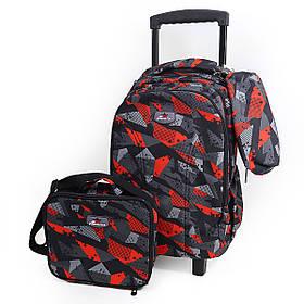 "DSCN9379 Набор ткан.:чемодан-рюкзак детск.на 2 колесах+сумка+пенал ""Абстракция"""