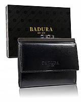 Женский кожаный кошелек на кнопке черный Badura B-50212-BSVT Black, фото 1
