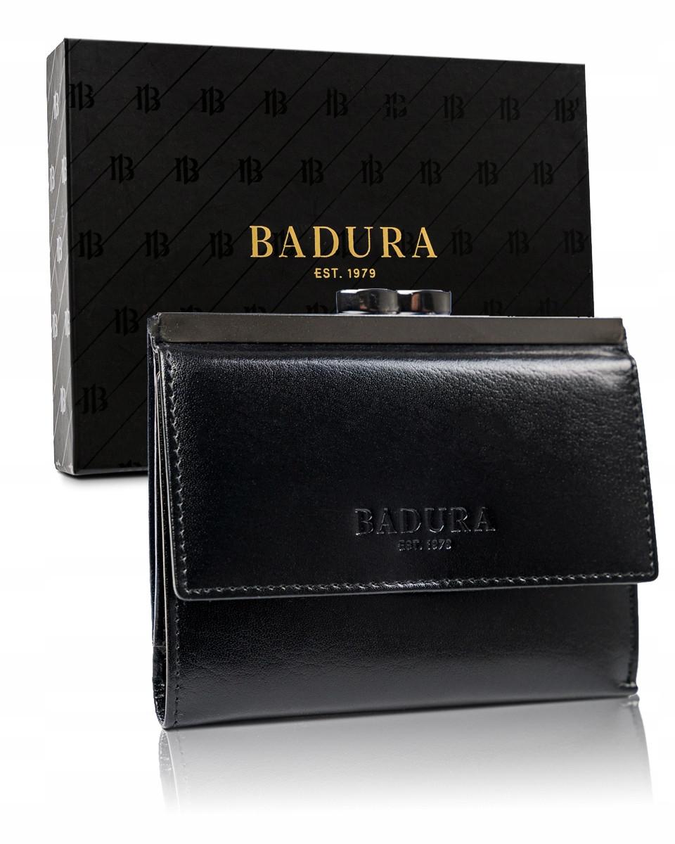 Женский кожаный кошелек на кнопке черный Badura B-50212-BSVT Black