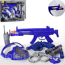 Набір поліції 111A-1 автомат 30 см, пістолет 14 см, маска, ліхтарик, звук, світло, іскрить, тріскачка