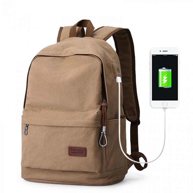 Винтажный стильный вместительный холщовый рюкзак Muzee с USB портом и карманом для ноутбука Городской рюкзак