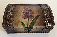 Шкатулка на ткани Цветок (18 х 11,3 х 11 см.)