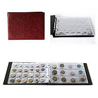 Альбом для 180 монет комби на кольцах бордовый