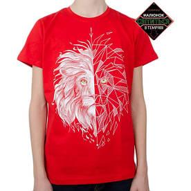 Подростковая футболка Лев, рисунок светится в темноте, красная (размер 38-44)