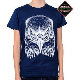 Подростковая футболка Орел, рисунок светится в темноте, темно-синяя (размер 38-44)