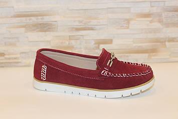 Туфли мокасины женские бордовые натуральная замша Т1298
