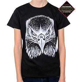 Подростковая футболка Орел, рисунок светится в темноте, черная (размер 38-44)