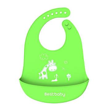 Нагрудник детский Bestbaby BS-8807 Жираф Green слюнявчик силиконовый с карманом для малышей