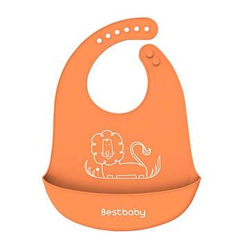 Нагрудник детский Bestbaby BS-8807 Лев Orange слюнявчик силиконовый с карманом для малышей