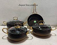 """Набор посуды Gold Beauty от CASA ROYAL с антипригарным покрытием """"Bio Granit"""" черный"""