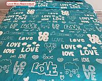 Двоспальне простирадло на резинці - Love Story, бірюзовий