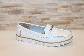Туфли мокасины женские белые натуральная кожа Т1299