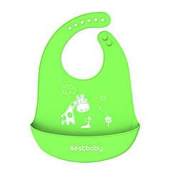 Дитячий Нагрудник Bestbaby BS-8807 Жираф Green слюнявчик силіконовий з кишенею для малюків