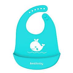 Дитячий Нагрудник Bestbaby BS-8807 Кіт Blue слюнявчик силіконовий з кишенею для малюків