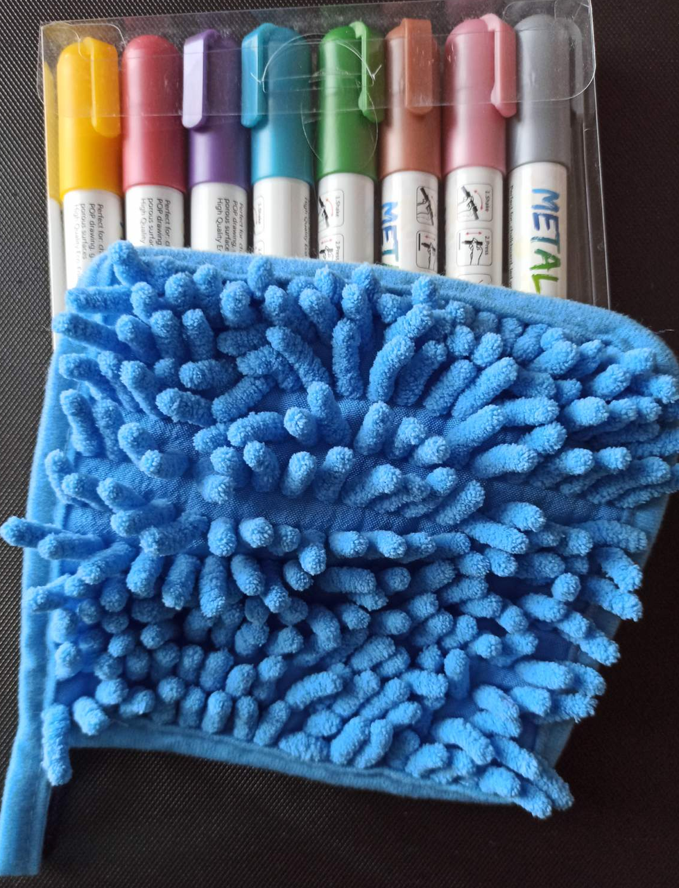 Набор металлик маркеры для грифельных Led досок 8 цветов Sipa Metallic+губка из микрофибры