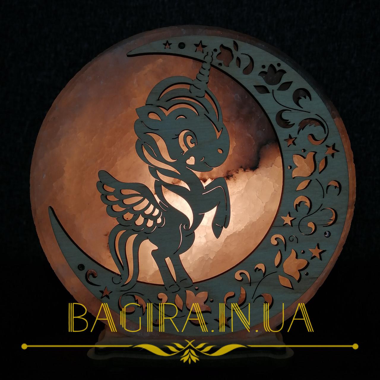 Соляная лампа ночник круглая Единорог на луне