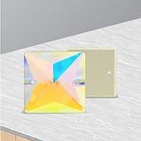 Стрази пришивні PREMIUM Квадрати Crystal AB Скло 16мм, фото 3