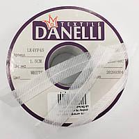 Стрічка нитепрошивная в пройму з косою 45г/м цв білий 15мм (рул 100м) Danelli LK4YP45