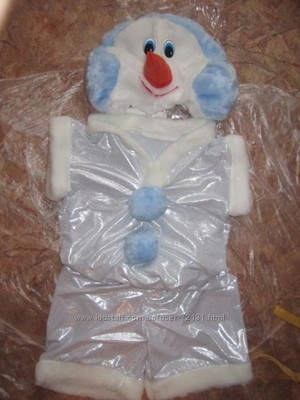 Новогодний костюм снеговика мех лазерка, детские новогодние костюмы оптом от производителя, фото 2