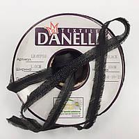 Тасьма в пройму з косою посилена сутажом кол чорний 10мм (рул 100м) Danelli LK4YP55