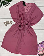 Лиловая шифоновая туника, пляжная одежда.
