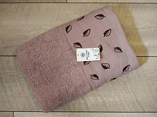 Полотенце банное махровое с вышивкой листочки 70х140 см  100% cotton производство Турция