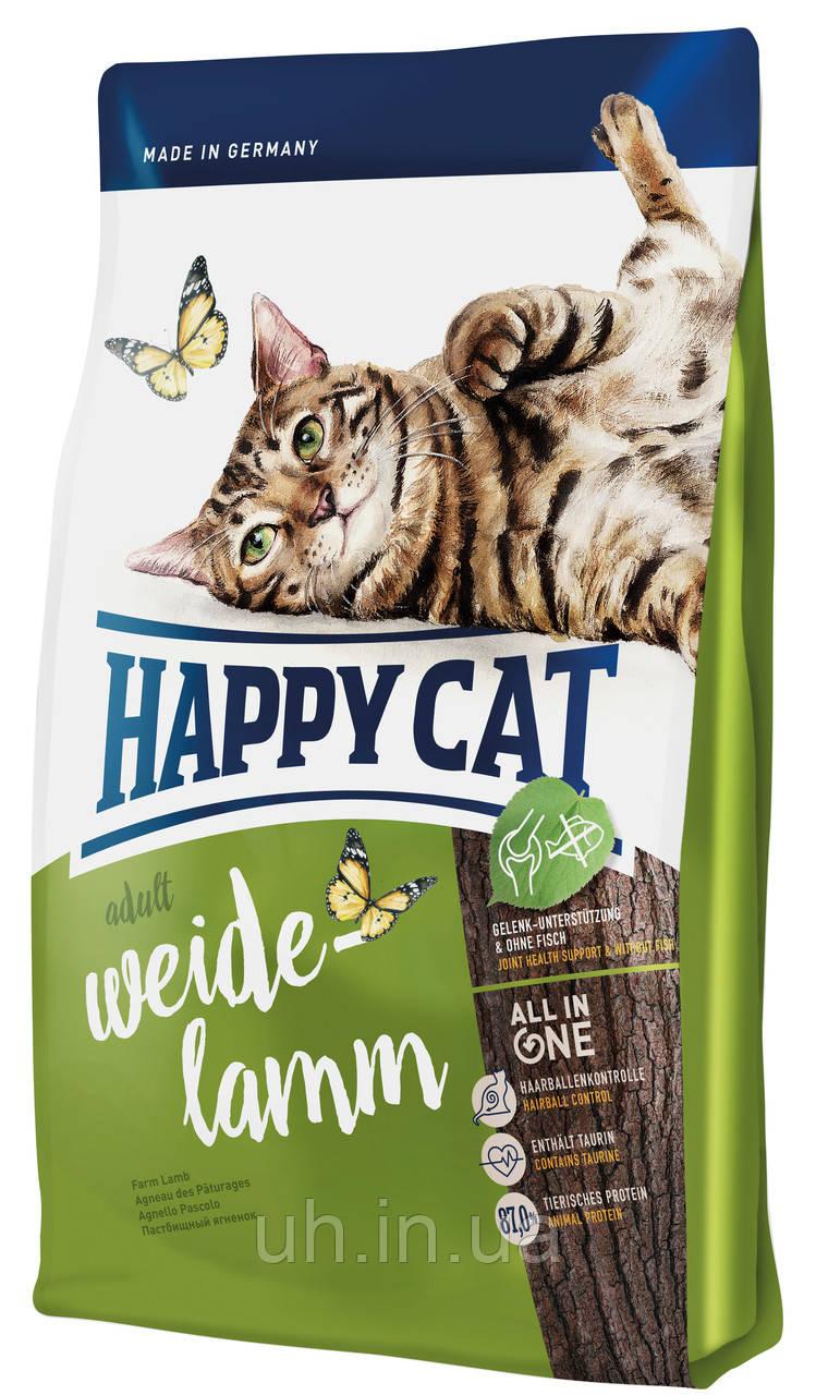 Сухий корм Happy Cat Adult Weide-Lamm для котів з чутливим травленням з пасовищним ягням, 10КГ