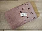 Рушник банний махровий з вишивкою листочки 70х140 см  100% cotton виробництво Туреччина, фото 2