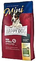 Сухий корм Happy Dog Mini Africa для собак дрібних порід при алергіях зі страусом 4КГ