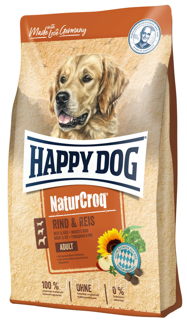 Сухий корм Happy Dog Naturcroq Rind & Reis для дорослих собак усіх порід з яловичиною та рисом, 15КГ