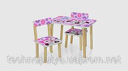 Столик і 2 стільці 501-62 дерево Сова Рожевий (KI00461)