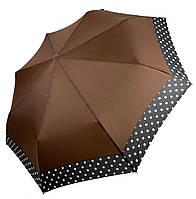 Жіночий парасольку-напівавтомат на 8 спиць з малюнком гороху, від SL, коричневий, 7009-2