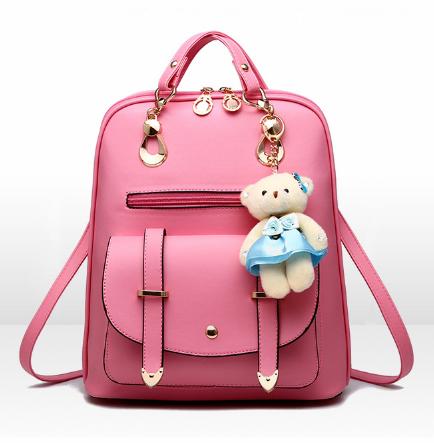 Рюкзак-сумка Sujimima рожевий з окантовкою