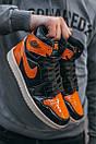 Женские кроссовки Nike Air JORDAN 1 Black Orange, фото 2