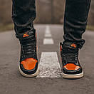 Женские кроссовки Nike Air JORDAN 1 Black Orange, фото 4