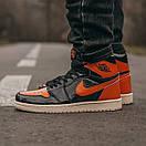 Женские кроссовки Nike Air JORDAN 1 Black Orange, фото 3