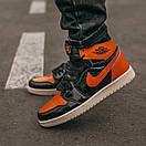 Женские кроссовки Nike Air JORDAN 1 Black Orange, фото 6