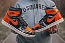 Женские кроссовки Nike Air JORDAN 1 Black Orange, фото 5