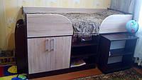 """Ліжко трансформер із столом """"Кузя 2"""", дуб сонома+венге магія, фото 1"""