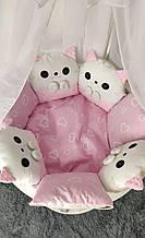 Комплект сменного постельного белья Котики. Балдахин, бант, подушка, простынь, защита и тд. Розовый
