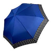 Жіночий парасольку-напівавтомат на 8 спиць з малюнком гороху, від SL, синій, 7009-3