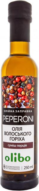 Заправка для салату масляна Суміш перців на олії волоського горіха Olibo 250 мл
