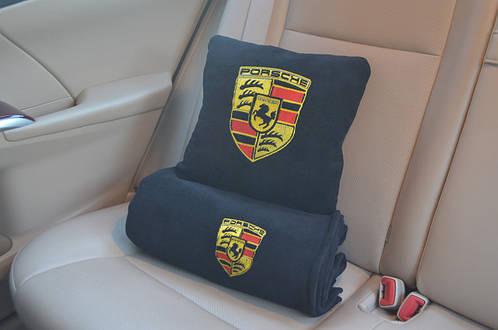 """Автомобильный  плед в чехле с логотипом """"Porsche"""" цвет на выбор"""