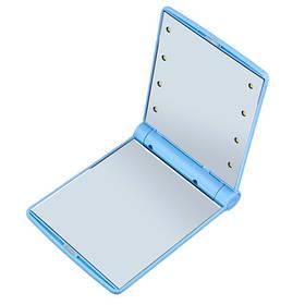 Зеркало мини карманное дорожное с подсветкой Led от Usb голубое 182998