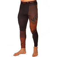Штаны мужские компрессионные тайтсы мужские Venum 8236 размер M (165-170см) Black-Brown, фото 1