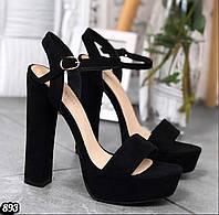 Черные замшевые босоножки на высоком устойчивом каблуке